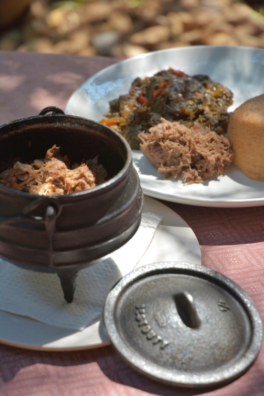 Seswaa at the Courtyard restaurant in Gaborone, Botswana, served with sorghum porridge and stewed pumpkin leaves.